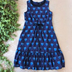 eShakti Blue Heart Fit & Flare Midi Dress